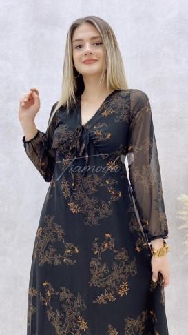 Yaka Bağcıklı Midi Şifon Elbise
