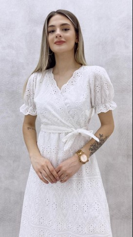 Kruvaze Yaka Fistolu Elbise - Beyaz