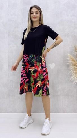 Thirt Detaylı Viskon Elbise - Çiçek Desen