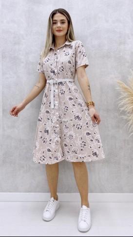 Kabartma Çiçekli Örgü Kemerli Elbise - Krem