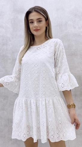 Fistolu Mini Elbise - Beyaz