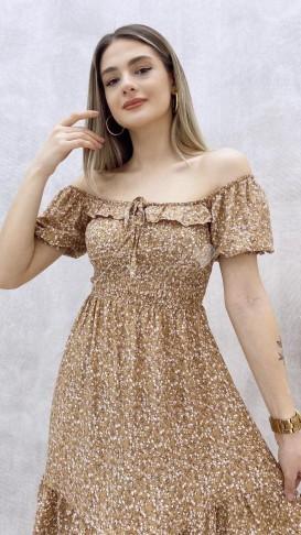 Kısa Kol Yaka Detay Elbise - Bej