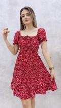Gipeli Yaka Bağcıklı Elbise - Kırmızı