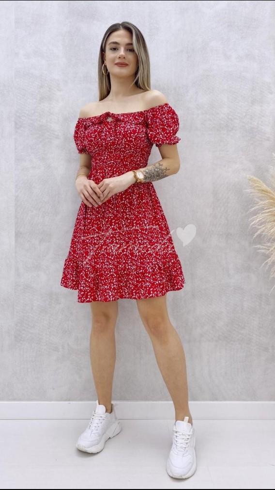 Kısa Kol Yaka Detay Elbise - Kırmızı