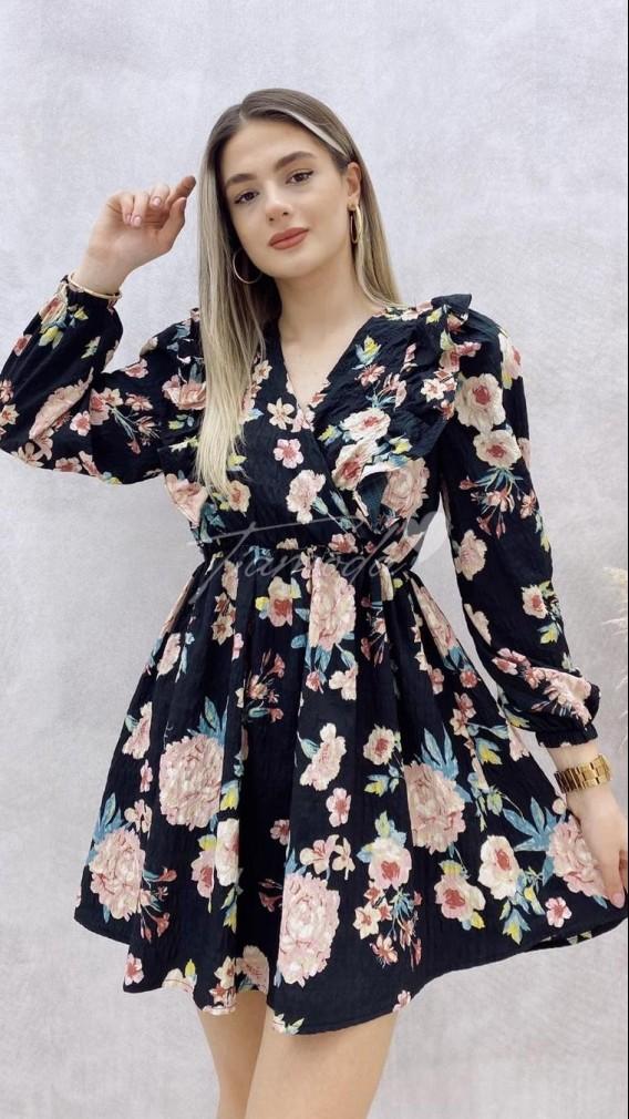Vatkalı Kırışık Kumaş Elbise
