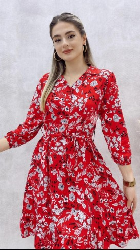 Yaprak Desen Viskon Elbise - Kımızı