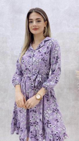 Yaprak Desen Viskon Elbise - Lila