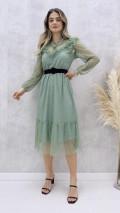 Yaka Püskül Tül Elbise - Mint