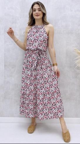 Halter Yaka Çiçekli Elbise