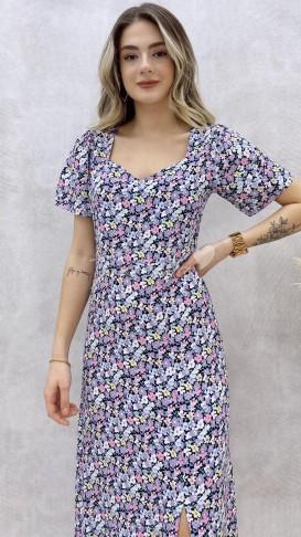 Kalp Yaka Çiçekli Elbise - Lila