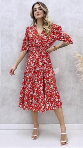 Omuz Detay Çiçekli Elbise - Kırmızı