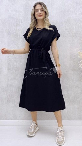 Kuşaklı Ayrobin Elbise - Siyah