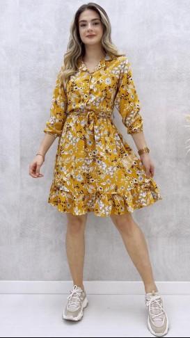 Yaprak Desen Viskon Elbise - Sarı