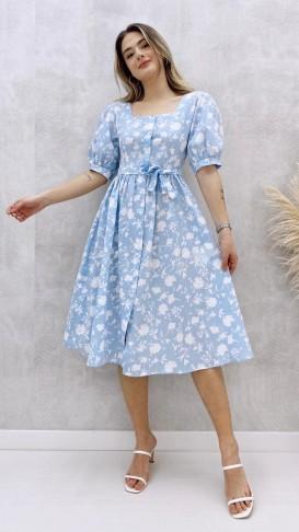 Prenses Kol Poplin Elbise - Bebe Mavi