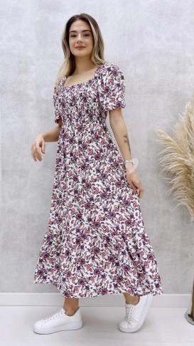 Karpuz Kol Şal Desenli Elbise - Ekru