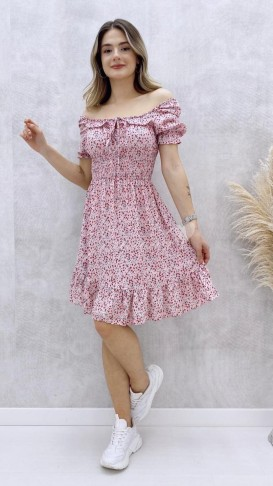 Beli Gipeli Yaka Bağcıklı Elbise - Pembe