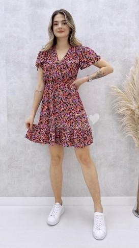 Kruvaze Mini Elbise - Lila