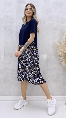 Tshirt Detaylı Viskon Elbise - Lacivert