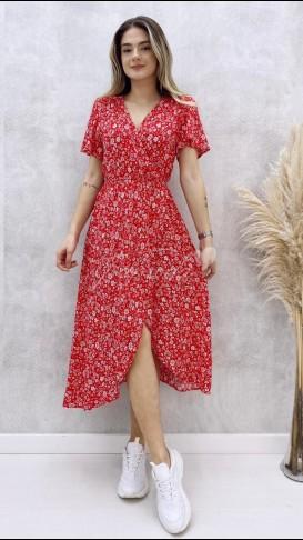 Beyaz Çiçekli Anvelop Elbise - Kırmızı