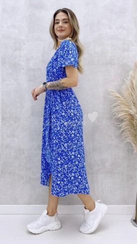 Beyaz Çiçekli Anvelop Elbise - Mavi