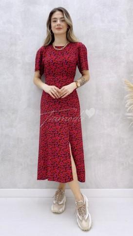 Kırmızı Çiçekli Viskon Elbise