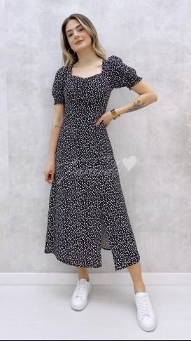 Kalp Desen Göğüs Büzgülü Elbise - Siyah