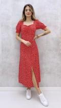 Kalp Desen Göğüs Büzgülü Elbise - Kırmızı