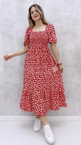 Gipeli Papatya Desen Elbise - Kırmızı