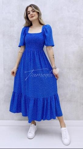 Gipeli Çakıl Desen Elbise - Mavi