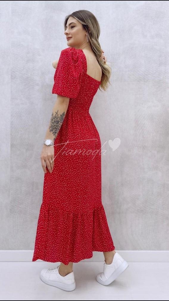 Gipeli Çakıl Desen Elbise - Kırmızı