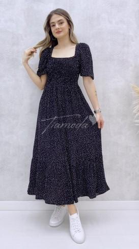 Gipeli Çakıl Desen Elbise - Siyah