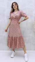 Korsajlı Elbise - Gül Kurusu