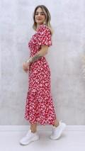 Korsajlı Elbise - Kırmızı