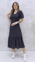 Korsajlı Puantiye Desen Elbise