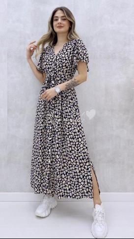 Kolu Volanlı Düğmeli Elbise - Papatya Desen