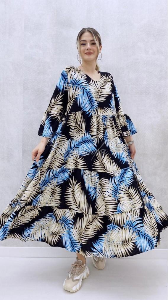 Areka Desen Dökümlü Elbise