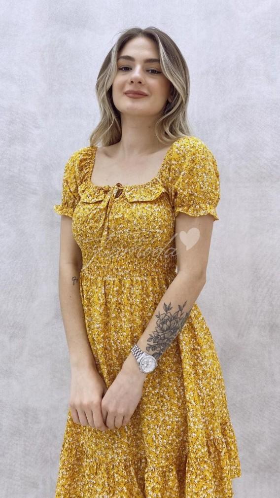 Kısa Kol Yaka Detay Elbise - Sarı