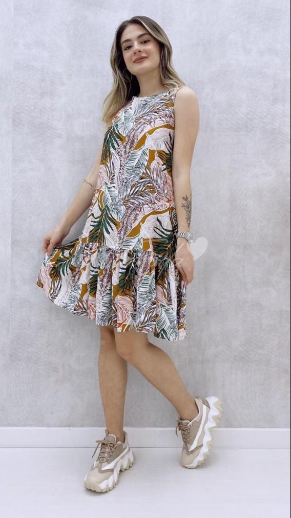 Yaprak Desen Kolsuz Elbise