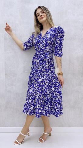 Omuz Detay Çiçekli Elbise - Mor
