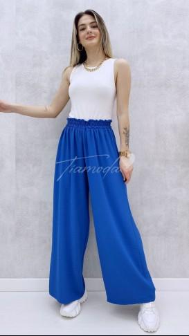 Bel Lastikli Bol Pantolon - Mavi