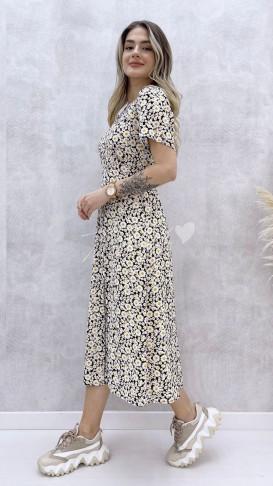 Yırtmaçlı Kısa Kol Elbise - Beyaz