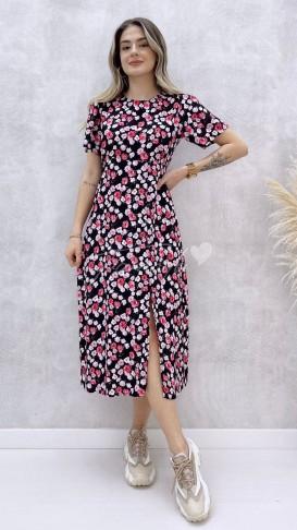 Pembe Çiçekli Tek Yırtmaç Elbise