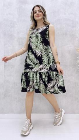 Yaprak Desen Kolsuz Elbise - Siyah