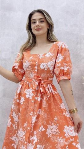 Prenses Kol Poplin Elbise - Somon