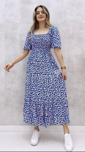 Gipeli Papatya Desen Elbise - Mavi