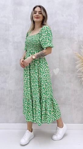 Gipeli Papatya Desen Elbise - Yeşil
