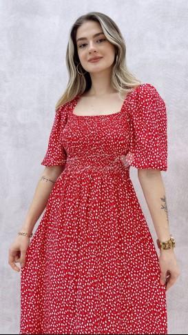 Gipeli Kalp Desen Elbise - Kırmızı