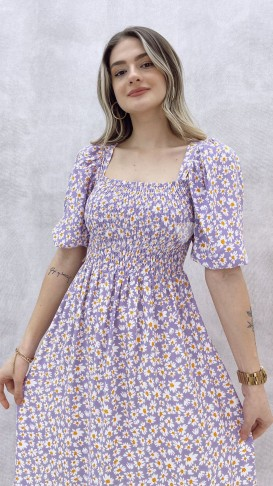 Gipeli Papatya Desen Elbise - Lila