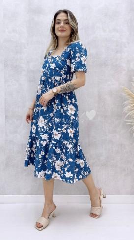 Gardenya Desenli Elbise - Mavi