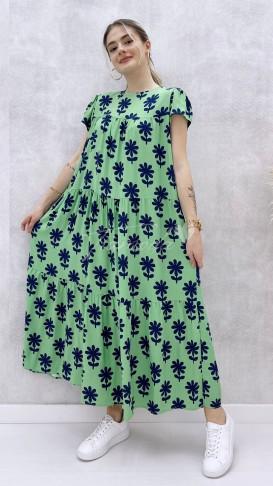 Salaş Viskon Elbise - Yeşil
